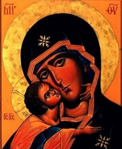 Рукописная икона Десятинная Божия Матерь