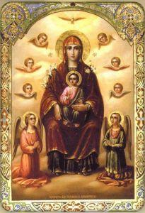 Рукописная икона Дивногорская Сицилийская Божия Матерь