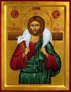 Рукописная икона Добрый Пастырь