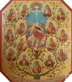 Рукописная икона Древо Богородицы