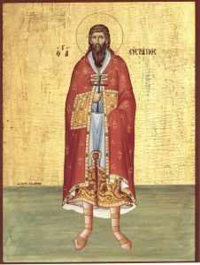 Рукописная икона Евстратий Севастийский
