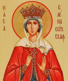 Рукописная икона Елена Сербская