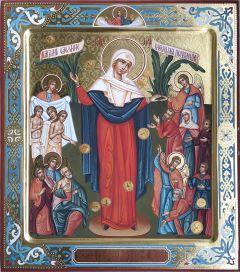 Рукописная икона Всех скорбящих радость с резьбой
