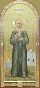 Рукописная икона Матрона Московская с резьбой