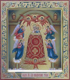 Рукописная икона Прибавление ума с резьбой
