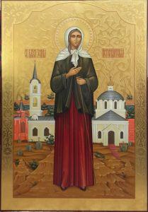 Рукописная икона Ксения Петербургская с резьбой