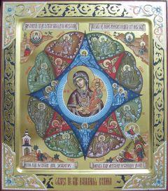 Рукописная икона Неопалимая Купина с резьбой