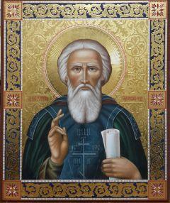Рукописная икона Сергий Радонежский с резьбой
