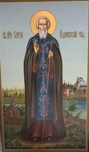Рукописная икона Сергий Радонежский