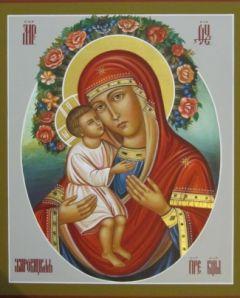 Рукописная икона Жировицкая Божия Матерь
