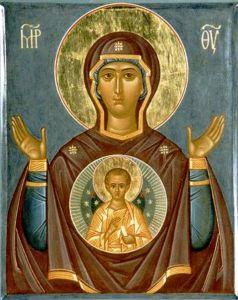 Рукописная икона Знамение Новгородская