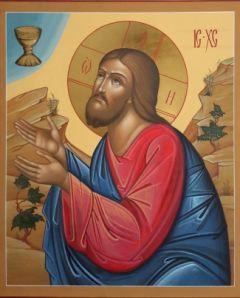 Рукописная икона Моление о Чаше
