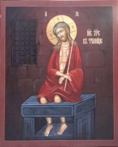 Рукописная икона Христос в темнице