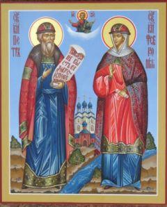 Рукописная икона Петр и Феврония 4