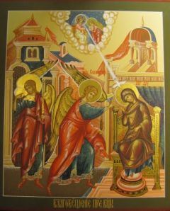 Рукописная икона Благовещение