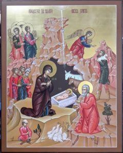 Рукописная икона Рождество Христово