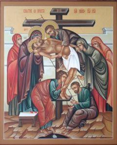Рукописная икона Снятие с креста