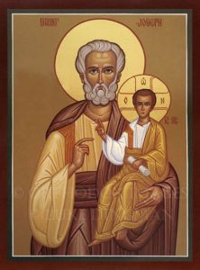 Рукописная икона Иосиф Обручник
