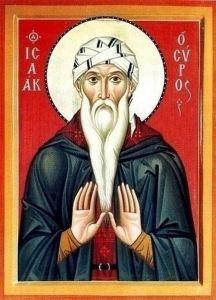 Рукописная икона Исаак Сирин