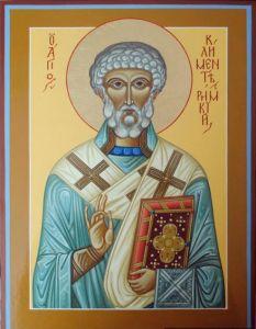Рукописная икона Климент папа Римский