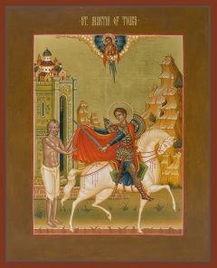 Рукописная икона Мартин Милостивый Турский