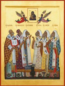Рукописная икона Московские святители