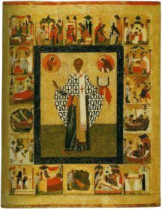 Рукописная икона Никола Зарайский с клеймами