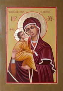 Рукописная икона О грешных Святая Ходатаица