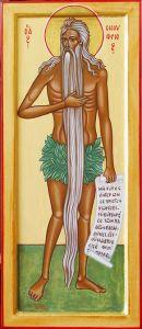Рукописная икона Онуфрий Великий