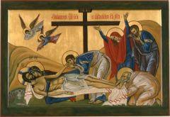 Рукописная икона Оплакивание Христа