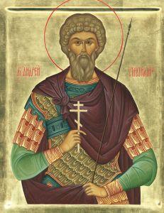 Рукописная икона Святой Андрей Стратилат