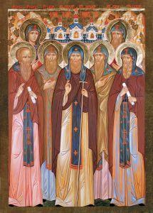 Рукописная икона Псковские Святые