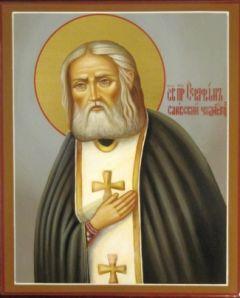 Рукописная икона Серафим Саровский