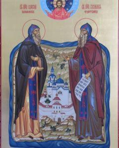 Рукописная икона Сергий и Герман Валаамские