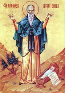 Рукописная икона Сисой Великий