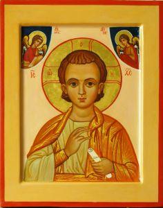 Рукописная икона Спас Эммануил