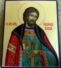 Рукописная икона Святой Александр Невский