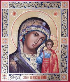 Рукописная Казанская Божия Матерь с резьбой и узорами