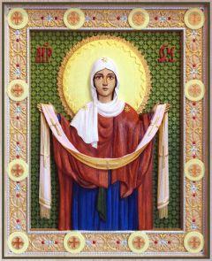 Резная икона Покров Божией Матери