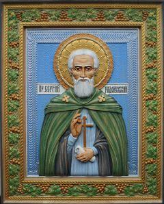 Резная икона Сергий Радонежский 3