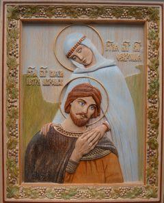 Резная икона Петр и Феврония