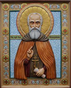 Резная икона Сергий Радонежский 7