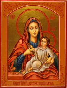 Рукописная икона Козельщанская Божия Матерь