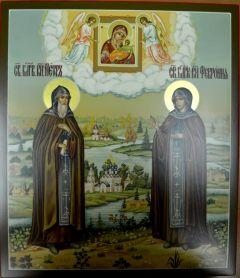 Рукописная икона Петр и Феврония с пейзажем