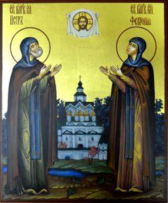 Рукописная икона Петр и Феврония золото 30