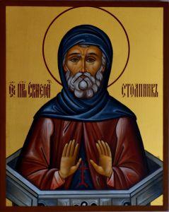 Рукописная икона Симеон Столпник