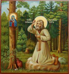 Рукописная икона Моление Серафима Саровского на камне