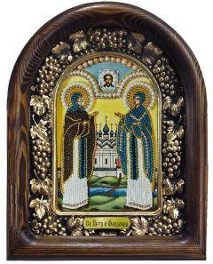 Икона из бисера Петр и Феврония (Размер 18*23 см)