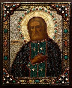 Икона Серафима Саровского с ризой