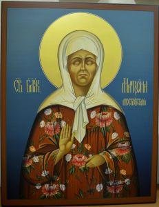 Рукописная икона Матрона Московская синий фон